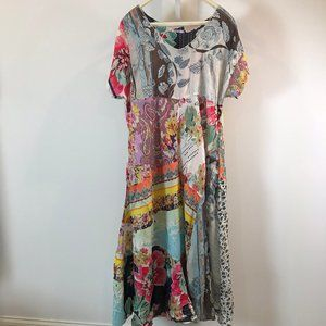 Johnny Was Silk Patchwork Dress 1X